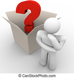 A man ponders a question with outside the box thinking