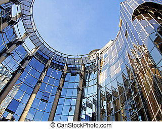 Oval business metal and glass facade building