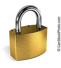 Close up on locked padlock over white background