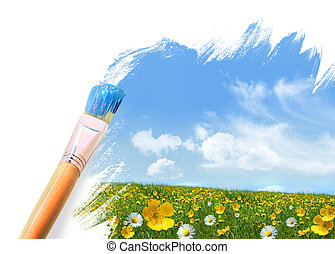 Painting a field full of wild flowers