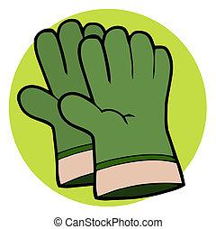 Pair Of Green Gardening Hand Gloves