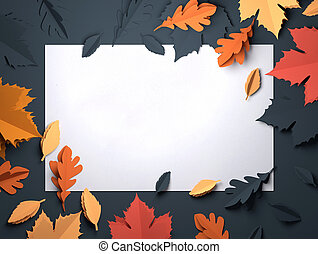 Paper Art - Autumn Fall Leaves Background