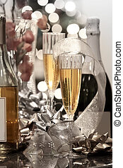 Party table with Champaign ,Wine and Christmas decoration