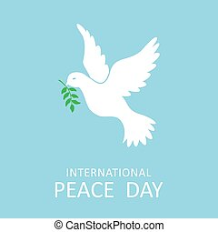 Peace dove with olive branch for International Peace Day poster. Vector illustration