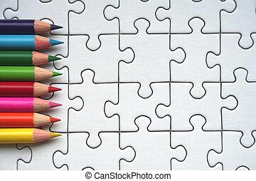 Pencils and jigsaw
