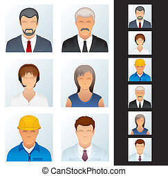 People Icon. Avatars of Various People Occupations