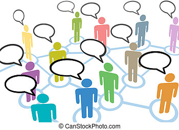 A group of diverse people talk in social media speech communication network connections