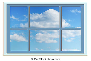 perfect cloudy blue sky through the window