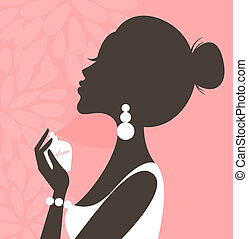 Illustration of a young beautiful woman applying perfume on her neck.
