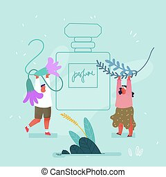 Perfumers Create New Perfume Fragrance Composition Concept. Tiny Man and Woman Bringing Ingredients Herbs to Huge Sprayer Bottle with Toilet Water. Perfumery Industry Cartoon Flat Vector Illustration