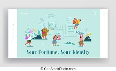 Perfumery Composition Creation Website Landing Page. Perfumers Create New Perfume Fragrance. People Bring Aroma Ingredients to Huge Sprayer Bottle Web Page Banner. Cartoon Flat Vector Illustration