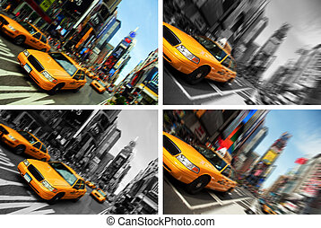 new york taxi times square, motion blur