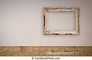 Picture frame over an old wall