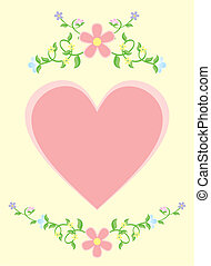 pink heart corner vector illustration