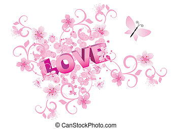 pink heart love abstract vector