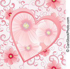 pink heart with flowers on seamless background vector image