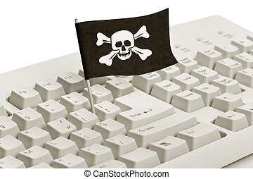Pirate Flag and Computer Keyboard