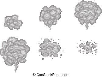 Pixel art smoke animation vector frames for game design