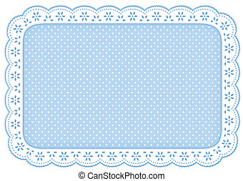 Eyelet lace doily place mat with polka dots in pastel blue for home decorating, setting table, arts, crafts, scrapbooks, backgrounds. EPS8 compatible.