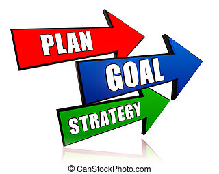 Plan, goal, strategy 3d colorful arrows with text