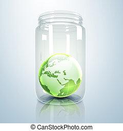 Planet earth inside glass jar