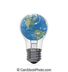 Planet Earth inside lightbulb