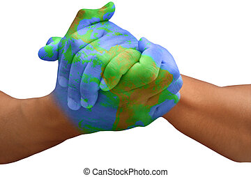 Planet Earth Painted Man Hands