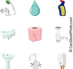 Plumbing icons set, cartoon style