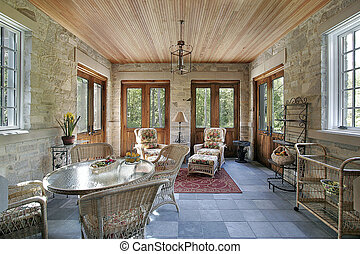 Porch with slate flooring