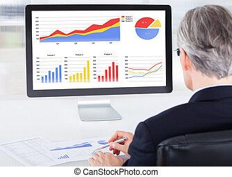 Portrait of businessman working on computer
