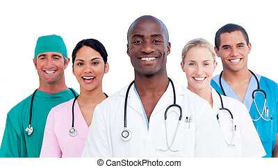 Portrait of positive medical team against a white background