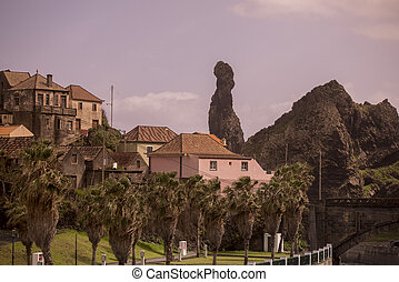 the Town of Ribeira da janela on the Island of Madeira in the Atlantic Ocean of Portugal.  Madeira, Porto Moniz, April, 2018