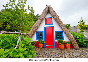Portuguese traditional house in Santana, Madeira Island