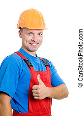 Smiley happy isolated builder worker with thumbs up hand gesture