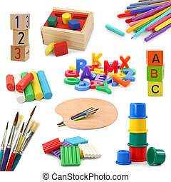 Preschool objects collection isolated on white background