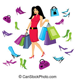 pretty girl with bags illustration
