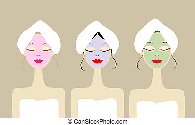 Pretty women with cosmetic mask on faces