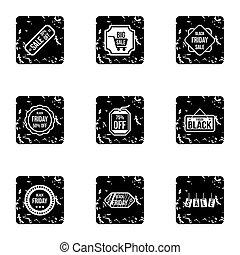 Price down icons set, grunge style