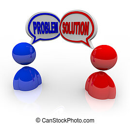 Two people talking, with one bringing up a problem and the other offering a solution like a customer service situation