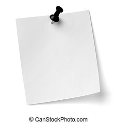 close up of a note paper with push pin on white background with clipping path
