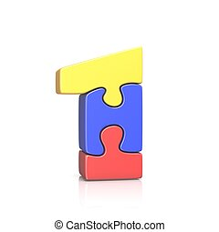 Puzzle jigsaw number ONE 1 3D