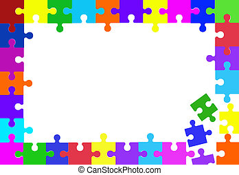 Colorful puzzle pieces border on white.
