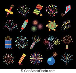 Pyrotechnics and fireworks vector illustration, petards fire crackers signs