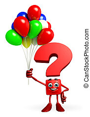 Question Mark character with Balloon