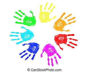 rainbow hand prints