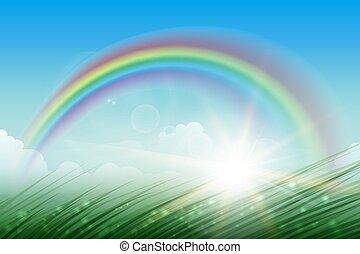 Rainbow Landscape Background