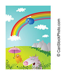 Rainbow Landscape with Funny Animals