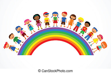 rainbow with kids, colorful vector illustration