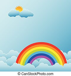 Rainbow with Sun and Clouds
