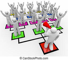A leader with a bullhorn rallies his team on an organizational chart